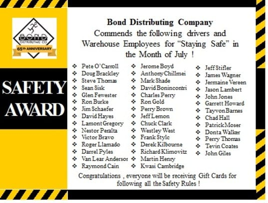 safety awards July Bond Distributing Baltimore Maryland