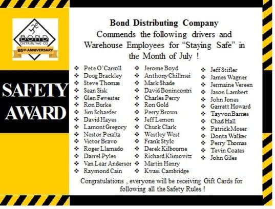 safety awards July Bond Distributing Baltimore Maryland