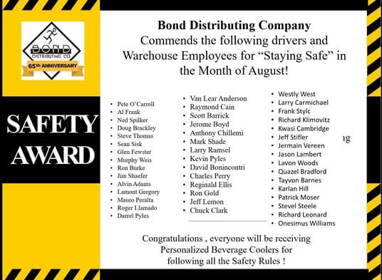 safety awards august Bond Distributing Baltimore Maryland