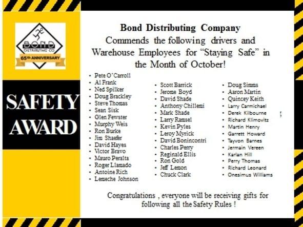 october_Safety_winners awards Bond Distributing Baltimore Maryland